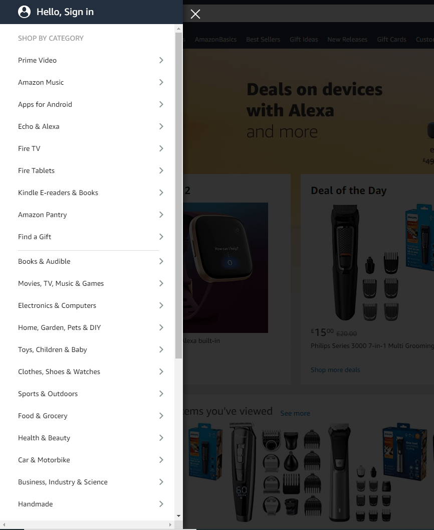 list of product categories on Amazon's website