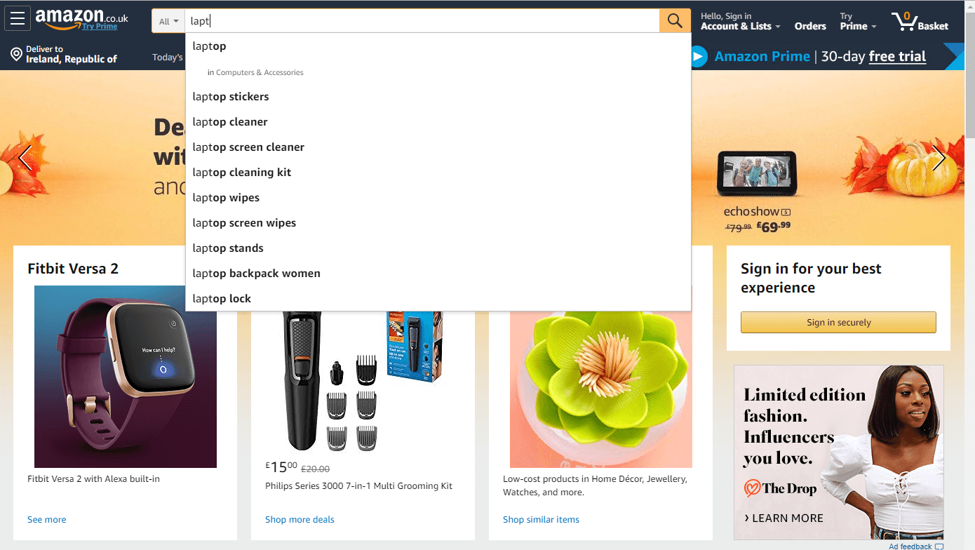 laptop search results on Amazon's website