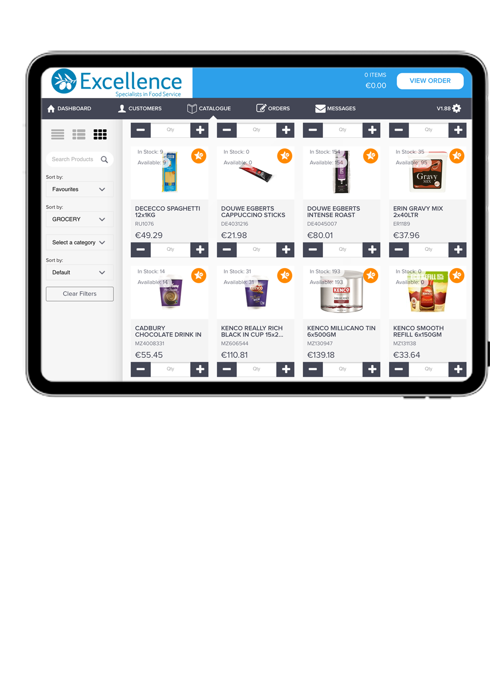 product catalogue on a sales rep app