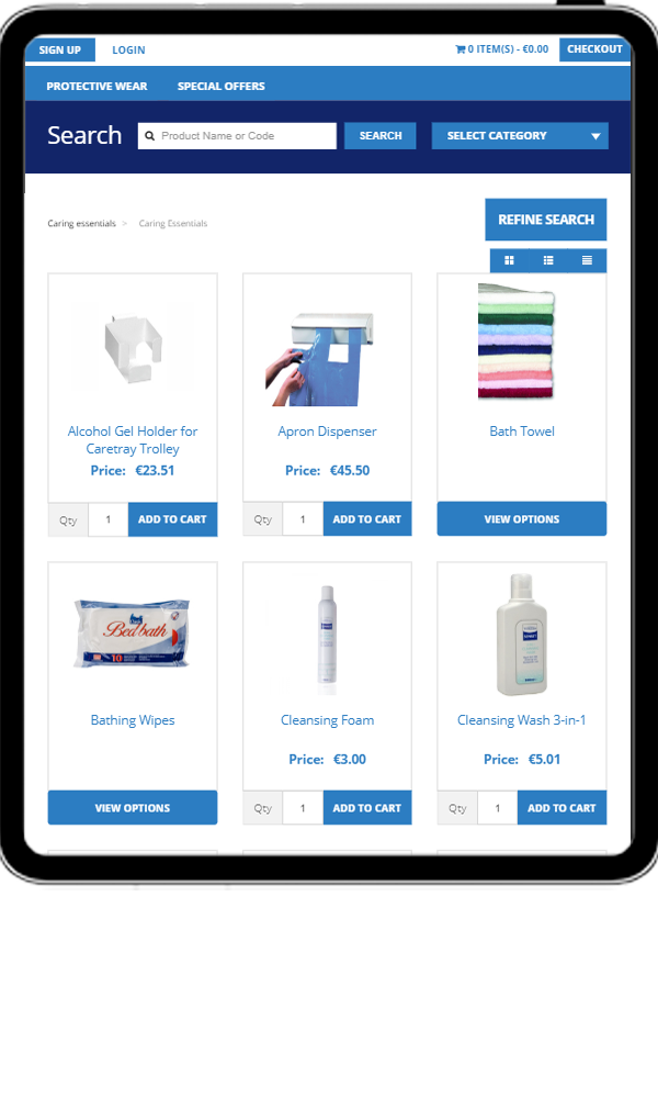 Tablet version of Homecare Medical's product page