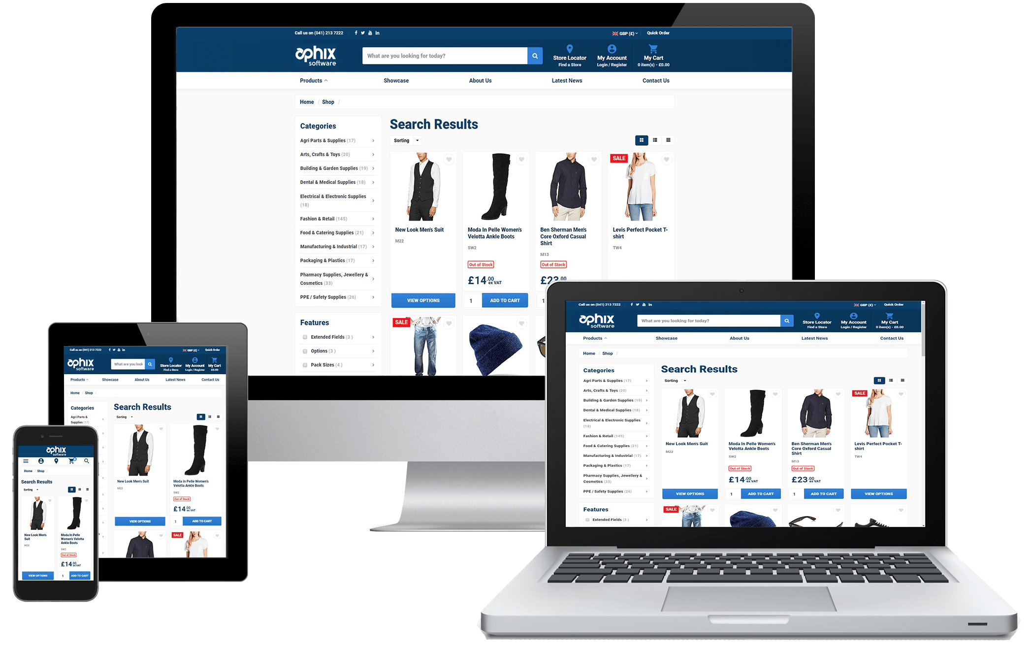 different computer devices showing responsive integrated eCommerce site