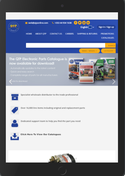 Quality Tractor Parts' web page on a tablet