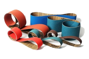 red and blue abrasive belts