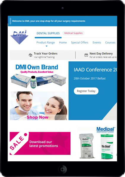 medical supplies' web page on a tablet