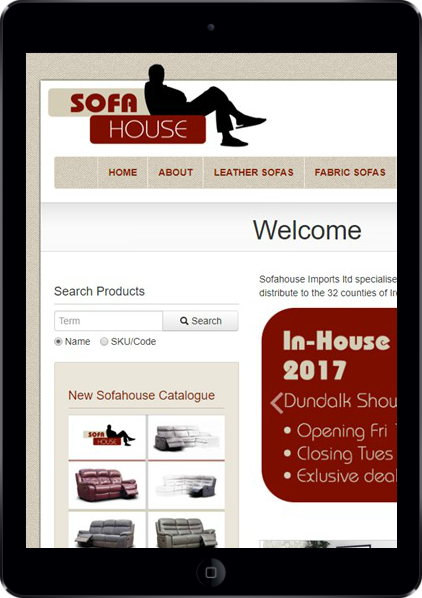 sofa house's home page on a tablet