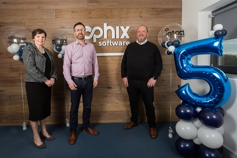 Helen McAuliffe from Enterorise Ireland, Graham O'Rourke, CEO, Aphix Software & Mark McArdle from Aphix Software and Group Sales Director from Intact Software